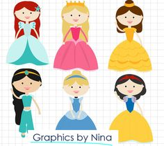 You will get: Princess Clipart / Scrapbook/ for Personal and Commercial Use Colors as seen 300 dpi (high resolution) PNG (transparent