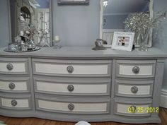 Painted with Paris Gray and Old White  Annie Sloan Chalk Paint