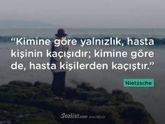 """""""Kimine göre yalnızlık, hasta kişinin kaçışıdır; kimine göre de, hasta kişilerden kaçıştır."""" #nietzsche #sözleri #filozof #felsefe #felsefi #kitap #anlamlı #sözler"""