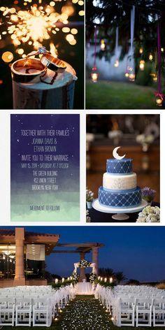 Evening Wedding Themes - Starry Night Theme. http://memorablewedding.blogspot.com/2013/11/evening-wedding-themes.html