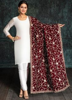 Dark Red Heavy Embroidered Velvet Shawl is on micro velvet fabric and features embroidery work which is completed with zari, stone and sequins embellishments. The length of this shawl is meters. Pakistani Fashion Party Wear, Pakistani Dresses Casual, Pakistani Bridal Dresses, Indian Dresses, Indian Outfits, Indian Fashion, Bridal Dupatta, Embroidery Suits Punjabi, Embroidery Suits Design