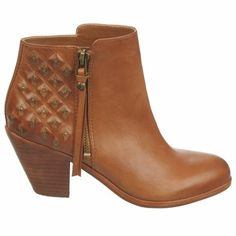 Color: Whiskey Upper: Leather Metallic studs glimmer on the strategically distressed heel of an earthy leather ankle bootie. Style Name: Sam Edelman 'Lucille' B Shoes Boots Ankle, Ankle Booties, Bootie Boots, Leather Ankle Boots, Tan Leather, Fall Booties, 2014 Trends, Booty, My Style