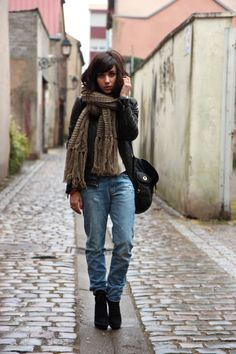 loose fit jeans, leather jacket, and scarf - et pourquoi pas coline
