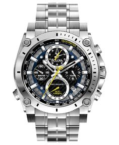 Bulova Watch, Men's Chronograph Precisionist Stainless Steel Bracelet 47mm 96B175