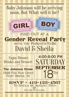 Gender Reveal Vintage Invitations