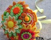 Custom Color Toss Felt and Button Bouquet