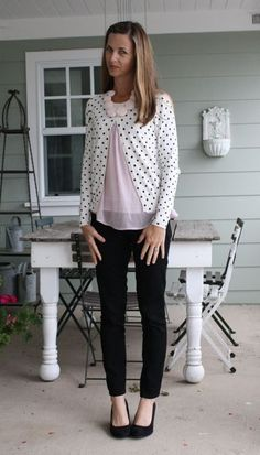 what i wore wednesday - polka dot cardigan, blush sheer top, blush rosettes, black skinnies and wedges.