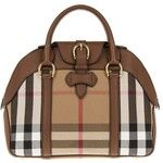 Burberry Handle Bag - House Check Derby Leather Milverton Tote Tan - in cognac, beige - Handle Bag for ladies