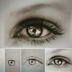"""""""Eye drawing by pencil ... مراحل طراحی و سایه زنی چشم برای هنرجو با استفاده از مداد b6 و قلموی پارس ارت روی مقوای فابریانو ...  ✔✔✔هنرکده ژوان .…"""""""