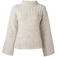 See By Chloé bell sleeve jumper ($192) ❤ liked on Polyvore featuring tops, sweaters, nude, see by chloe top, pink sweater, pink long sleeve top, long sleeve sweater and bell sleeve tops