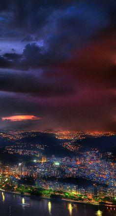 Storm Clouds In Rio de Janeiro #riodejaneiro #brazil #night #sky #clouds #thestorm #harbor #gulf #lights