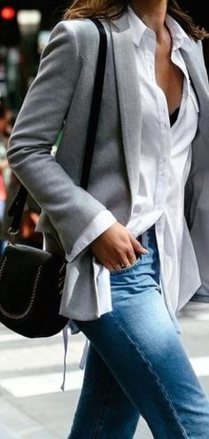 a3729b78c506 Incredible Office Outfit Idea Grey Blazer Plus Bag Plus White Shirt Plus  Jeans - Women s Style - Outfits