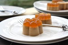 Palm Sugar And Coconut Milk Jelly:     Malaysian jelly dessert. Asian jelly desserts are made using agar agar (its vegetarian counterpart), which is derived from various versions of seaweed. Agar agar has very high fiber content. When the mixture cools and solidify, the translucent jelly will settle at the lower layer and the lighter density coconut cream floats to the top.