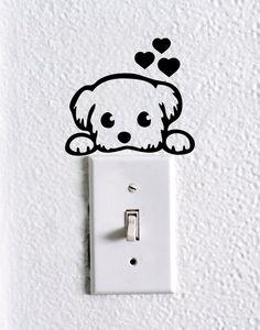 Cute Dog Baby Pet light switch wall decal , dog stickers, cute dog wall vinyl, cute dog nursery wall decal, funny wall decal, car decal by dadavinylsanddesigns on Etsy https://www.etsy.com/listing/399180139/cute-dog-baby-pet-light-switch-wall
