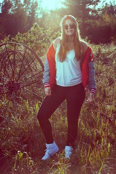 The red A#8 jacket. #streetstyle #fashionblog #inspiration #swag #bomberjacket #basketballjacket #bandana #sneakers #emmyslife