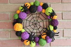 Halloween Wreath Yarn Ball Wreath 14 inches in by whimsysworkshop, $40.00