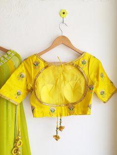 Green Gota Patti Bandhej Dupatta Lehenga Blouse Detail Www.labelkanupriya.com