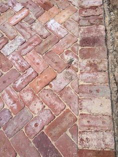weathered brick for driveway, walkways and fire pit area