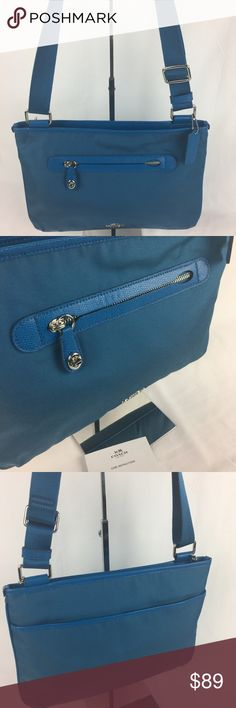 """Coach Small Crossbody in Nylon in Brilliant Blue Condition Notes: Gently loved. Very good condition inside and out. With Care Card.   Lightweight and compact in remarkably durable nylon with polished hardware and hand-finished leather trim, this hands-free design keeps essentials organized with an easily accessible exterior pocket and multifunctional compartments within. 13""""L x 9""""H x 1.5""""W   Thank you for your interest! No Trades please. Coach Bags Crossbody Bags"""