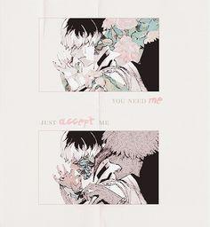 Ken Kanaki Tokyo Ghoul anime manga Art Tumblr. Flowers Pink white Black Rose. Look at me. Chair Centipede torture glassy sky. Haise Sasaki. Name. You need me. Just accept me.