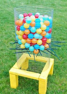 Outdoor kerplunk - we need to add this to the wedding games! With our giant jenga