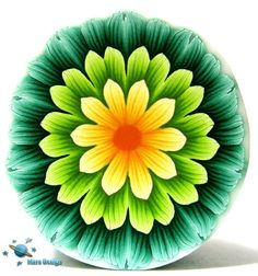 Polymer clay cane tricolor DALIA flower cane by by marsdesign