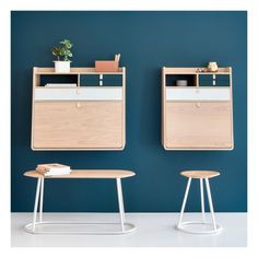 Combining unique functionality and discrete aesthetic, the Gaston Wall Secretary Desk by Harto can be used as a shelf, a console or even a secretary desk. Oak veneered MDF and plywood construction for strength and stability One top display shelf, one ope Wall Mounted Desk, Wall Desk, Small Room Desk, Small Rooms, Solid Wood Furniture, Furniture Design, Buy Desk, Wall Writing, Secretary Desks