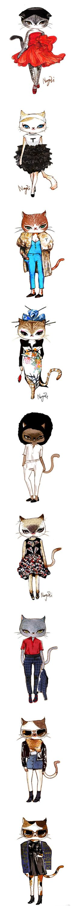 fashion cats - [previously pinned by Ashaley Lenora to my much larger board called Arts & Cats I]