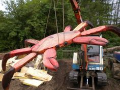 10ft Crab Seat carved for a playground in Plymouth.  The legs will be supported by posts.