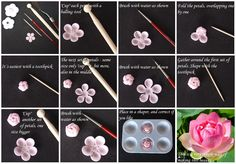 Tutorial - how to make a Lotus flower Gum Paste Fondant Flower Tutorial, Cake Tutorial, Fondant Rose, Fondant Flowers, Cake Flowers, Polymer Clay Flowers, Polymer Clay Crafts, Sugar Paste Flowers, Quilled Creations