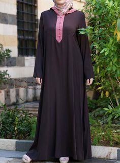 Contrast Hooded Abaya via www.ShukrClothing.com