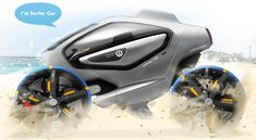 """The Surf Car designed by Yang Min-seok - The open-wheel E-SUV tackles both the sand and water with transforming """"paddle"""" wheels that give it unmatched maneuverability on seaside terrain. Its roof doubles as a rack to store surfboards as well as a place to kick back, relax and catch some rays. 