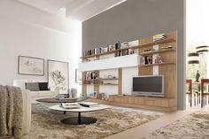 système de rangement pour salon composé de modules blancs et étagères ouvertes en bois