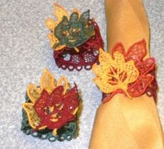 FSL Autumn Leaf Napkin Ring - 5x7 | FSL - Freestanding Lace | Machine Embroidery Designs | SWAKembroidery.com VK-Digitizing