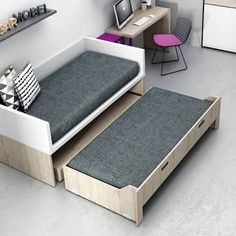 Doble bed, but the second is an removal drawer, AWESOME! Smart Furniture, Space Saving Furniture, Furniture Decor, Furniture Design, Diy Sofa, Sofa Bed, Home Bedroom, Bedroom Decor, Diy Bett