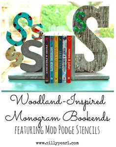 Woodland Inspired Monogram Bookends
