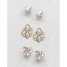 ALDO Gem Cluster Multpack Earrings ($13) ❤ liked on Polyvore featuring jewelry, earrings, gold, cluster jewelry, gem jewelry, bullet earrings, gem earrings and aldo jewelry