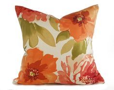 Orange Designer Pillow  Watercolor Floral by PillowThrowDecor