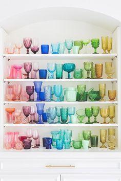 colored glassware in Elsie Larson's house shot by Alyssa Rosenheck
