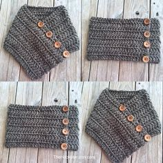 Unisex Chunky Crochet Infinity Scarf Huntress Cowl Chunky Crochet Cowl Tweed Granite Brown Infinity Cowl Outlander Cowl Cowl w/ Buttons by TheHookster on Etsy Chunky Crochet, Freeform Crochet, Crochet Poncho, Crochet Scarves, Crochet Lace, Free Crochet, Crochet Neck Warmer, Hand Knit Scarf, Crochet Patterns