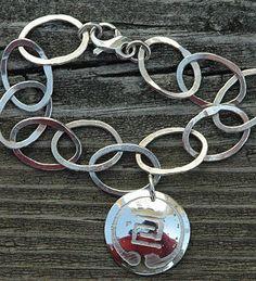 Fused fine Silver bracelet with Sterling Silver IOGKF Mon. by Whispering Elms Studio Niagara Region, Jewelry Branding, Whisper, Artisan Jewelry, Unique Jewelry, Personalized Items, Sterling Silver, Studio, Bracelets