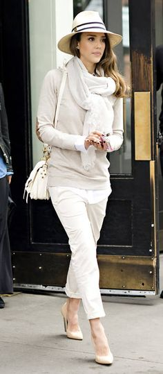 Jessica Alba Wears Head-to-Toe Beige in New York City on May 9, 2012