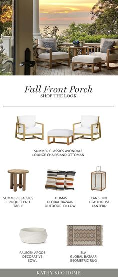 Porch Furniture, Outdoor Furniture, Rocking Chairs, Geometric Rug, Candle Lanterns, Chair And Ottoman, Porch Ideas, Fall Decorating, Swings