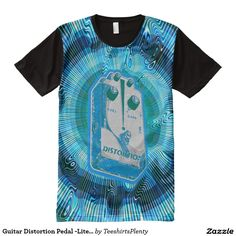 Guitar Distortion Pedal -Lite Blue/Green All-Over Print T-shirt