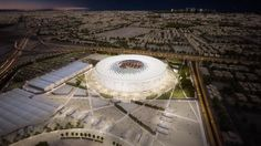 Image 1 of 9 from gallery of The Design of the Latest Qatar 2022 World Cup Stadium is Inspired by an Arabic Cap. Courtesy of Supreme Committee for Delivery & Legacy World Cup Stadiums, Soccer Stadium, Migrant Worker, Sports Complex, Zaha Hadid Architects, Building Structure, Design Consultant, Amazing Architecture, Exterior