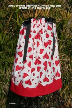 Valentine Pillowcase Dress Hearts on Whitesizes 18-24mo 2t 3t 5 | sweetsouthernsass - Clothing on ArtFire