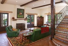 Decoration, Flooring Ideas For Family Room Fireplaces With Unique Floor Rug And Hunter Green Sofa Combianed With Spanish Patterned Stair: Types of Flooring Ideas for Family Room