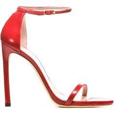 Stuart Weitzman Red Nappa Nudist Sandals as seen on Iggy Azalea