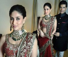 Kareena Kapoor And Saif Ali Khan Wedding Pictures Indian Attire, Indian Wear, Kareena Kapoor Hairstyles, Stylish Hair, Bollywood Fashion, Celebrity Gossip, Cool Hairstyles, Saree, Hair Styles