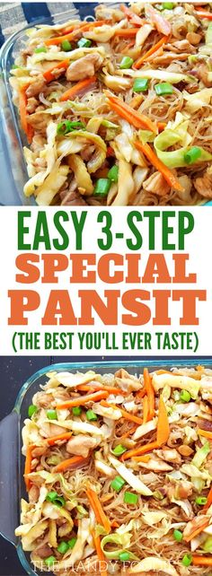 The Best Filipino Pansit Recipe Ever - The best pansit recipe you'll ever taste. This is one of the filipino dishes that is popular for potluck ideas. This homemade asian noodles or stir fry recipes are just too good to miss. This pancit can be subsituted Asian Noodle Recipes, Chicken Noodle Recipes, Asian Recipes, Ethnic Recipes, Filipino Vegetable Recipes, Easy Filipino Recipes, Comida Filipina, Vegetable Noodles, Malaysia